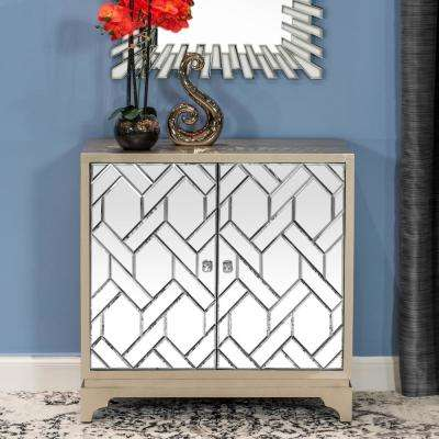 Home Source Nicolette brown/chrome Glam Two Door Accent Cabinet