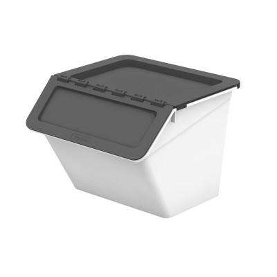 Patented Pelican Series 16 Qt. Stackable and Nestable Storage Box with 2-Stage Lid in Grey (6-Pack)