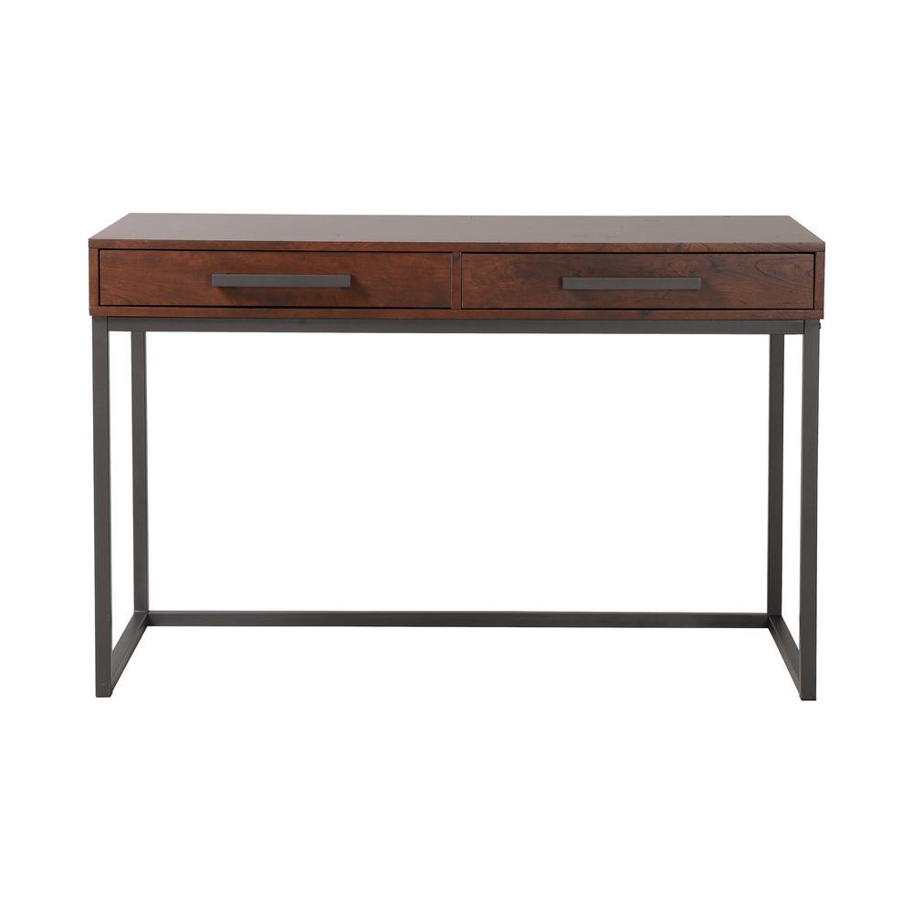 Selco Walnut Black Desk with 2-Drawers