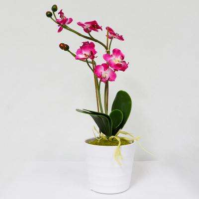 16 in. Indoor Artificial Potted Orchid