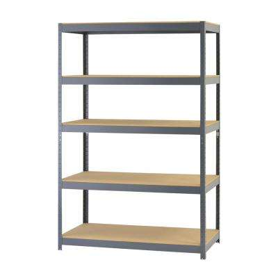 72 in. H x 48 in. W x 24 in. D 5-Shelf Steel Boltless Particle Board Shelving Unit in Gray