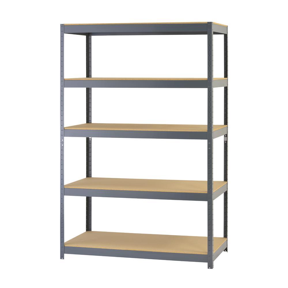 72 in. H x 48 in. W x 24 in. D 5-Shelf Steel Boltless Particle Board Shelving Unit in Gray