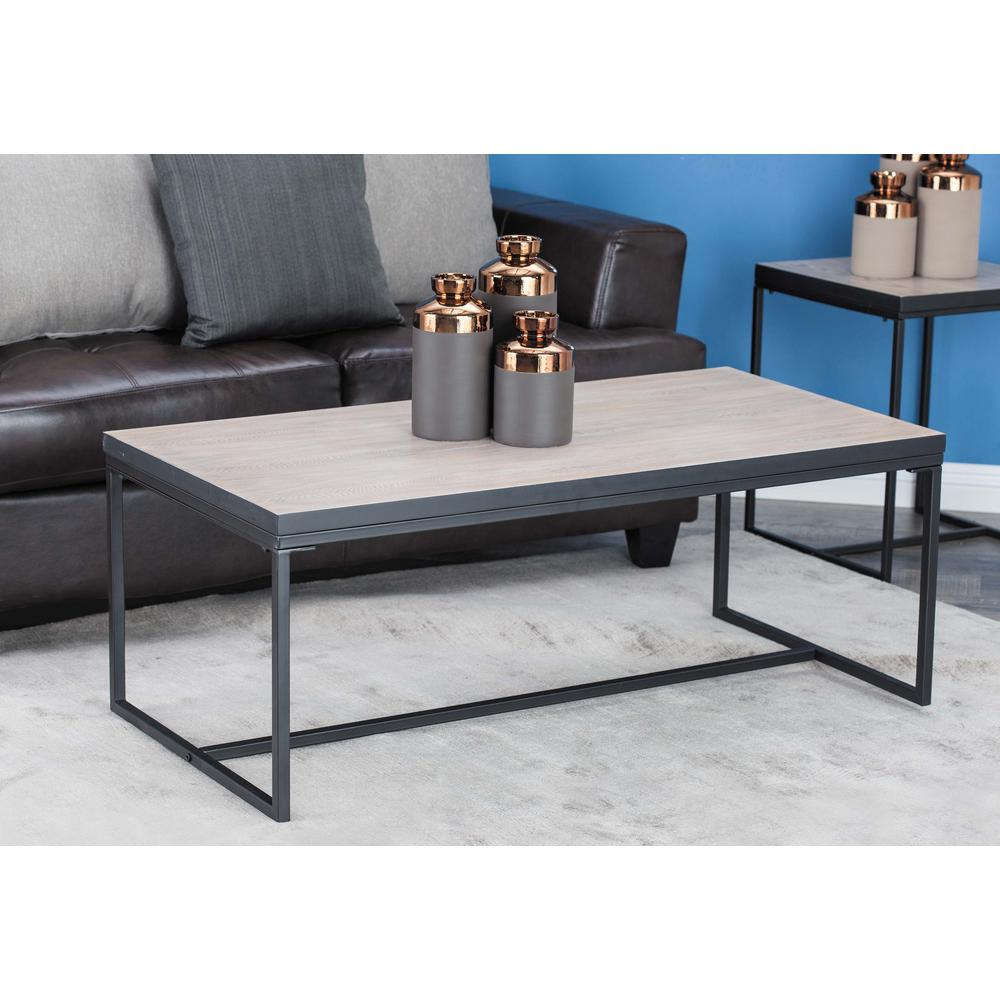 47 in. x 18 in. Modern Metal and Wood Coffee Table