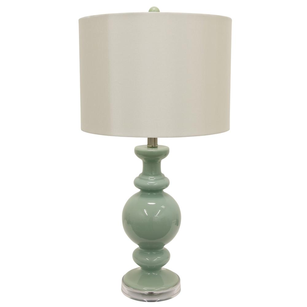 Jade Green Table Lamp With Linen Shade