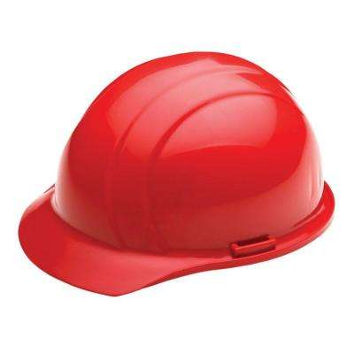 4 Point Plastic Suspension Slide-Lock Cap Hard Hat in Red