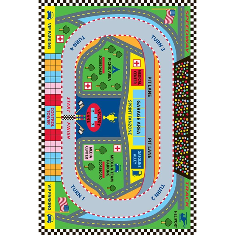 LA Rug Fun Time Speedway Multi Colored 3 ft. x 5 ft. Area Rug