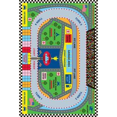 Fun Time Speedway Multi Colored 3 ft. x 5 ft. Area Rug