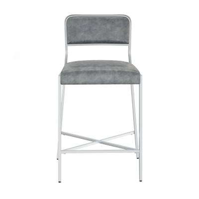 Kira 24 in. Gray Leather Cushion and Silver Metal Bar Stool