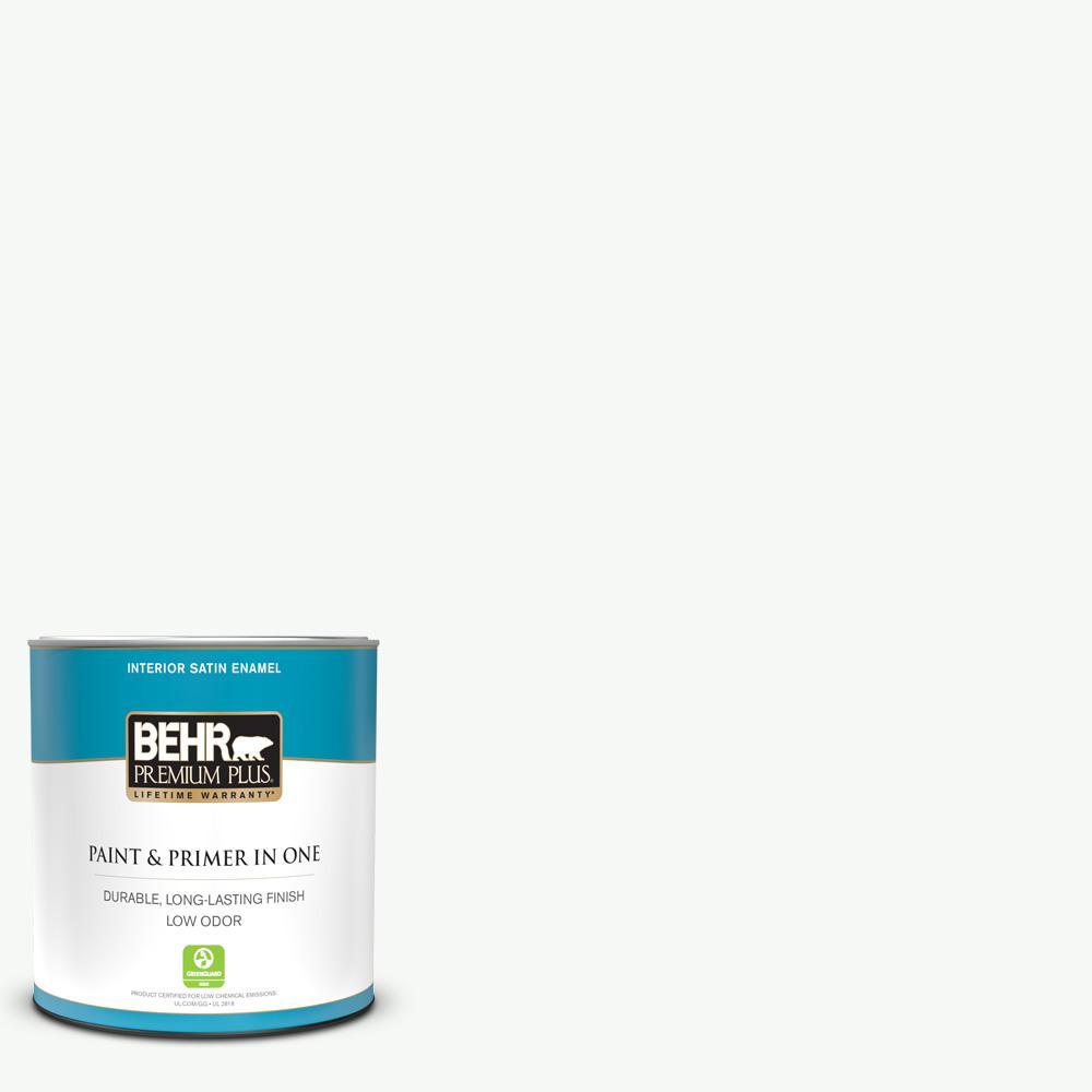 Behr Premium Plus 1 Qt Home Decorators Collection Hdc Nt 04g Blanca Peak Satin Enamel Low Odor Interior Paint And Primer 705004 The Home Depot