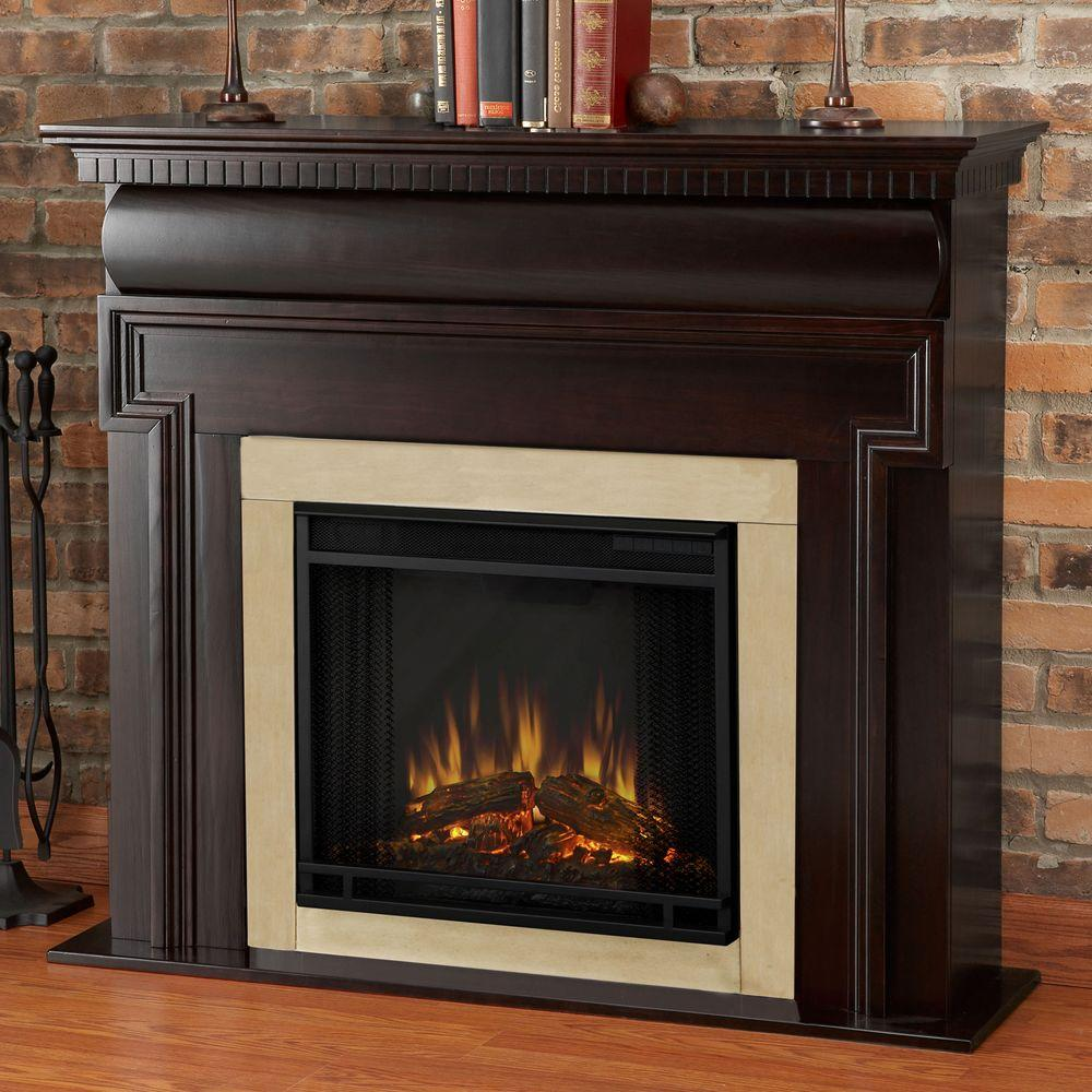 Real Flame Mt. Vernon 48 in. Electric Fireplace in Dark Walnut-DISCONTINUED