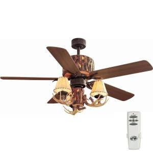 Hampton Bay Lodge 52 inch Indoor Nutmeg Ceiling Fan with Light Kit and Remote Control by Hampton Bay
