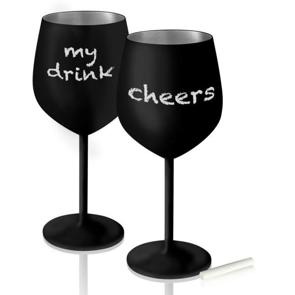 Artland Colton 18 oz. 2-Piece Black Matte on Stainless Steel Goblet