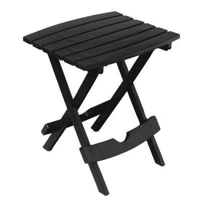 Quik-Fold Black Plastic Resin Outdoor Side Table