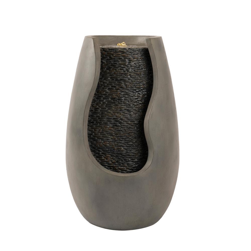 14 in. Modern Decorative Concrete Pot Cascading Outdoor Zen Water Fountain