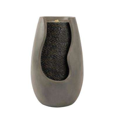 14 in. Modern Decorative Concrete Pot Cascading Outdoor Zen Water Fountain