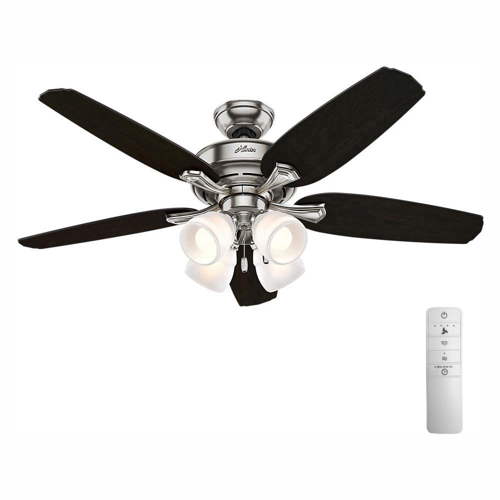 Hunter Channing 52 in. Indoor LED Brushed Nickel Smart Ceiling Fan with Light and WINK Remote Control