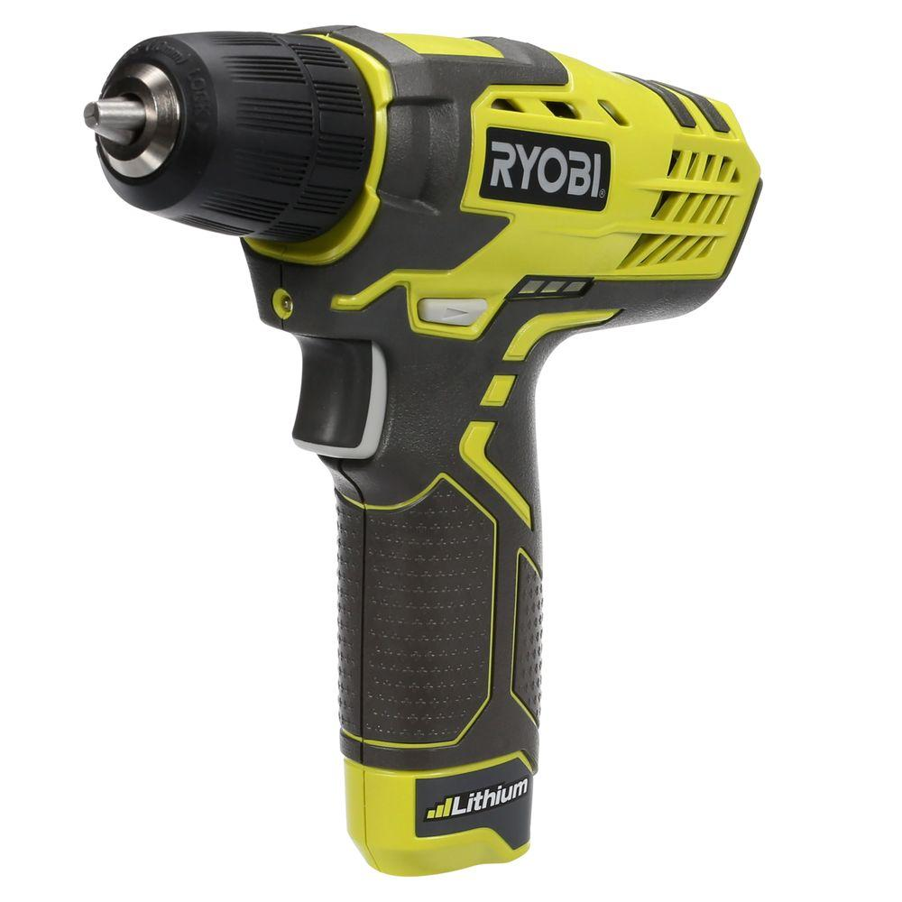 ryobi 8 volt lithium ion cordless drill kit with charger hp108l the home depot. Black Bedroom Furniture Sets. Home Design Ideas