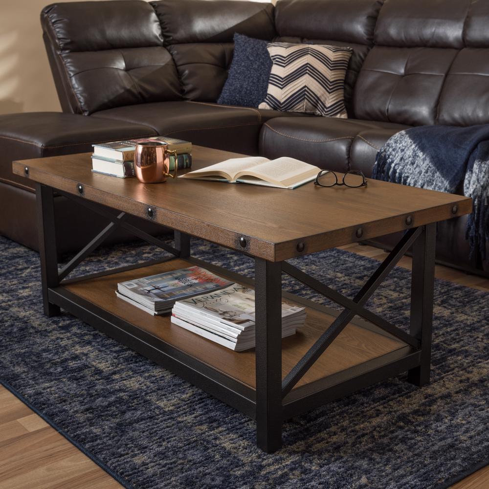 Herzen Medium Brown Wood Finished Coffee Table