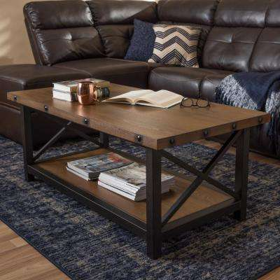Herzen Medium Brown Wood Finished Coffee Table