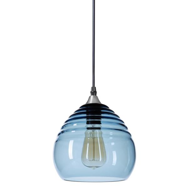 Ripple 8 in. W x 7 in. H 1-Light Silver Hand Blown Glass Pendant Light with Grey-Blue Glass Shade