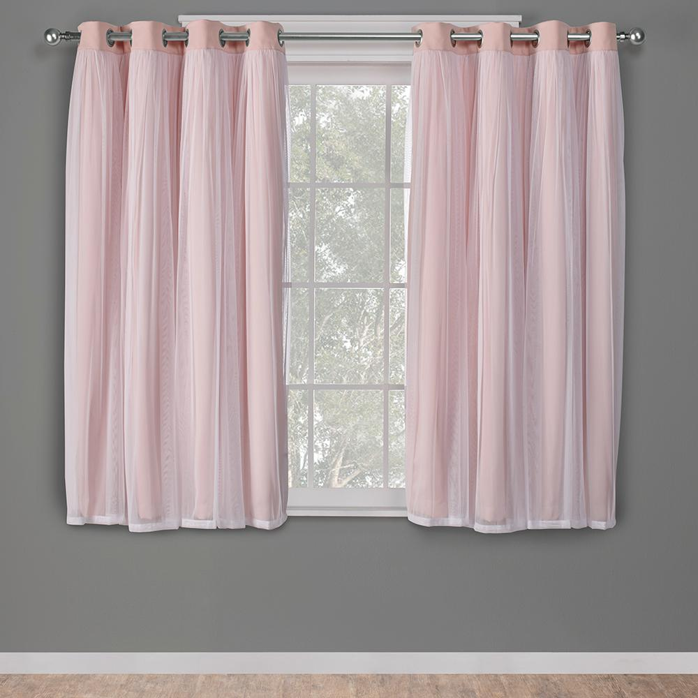 L Layered Sheer Blackout Grommet Top Curtain Panel In Rose Blush 2 Panels Eh8255 05 63g The Home Depot
