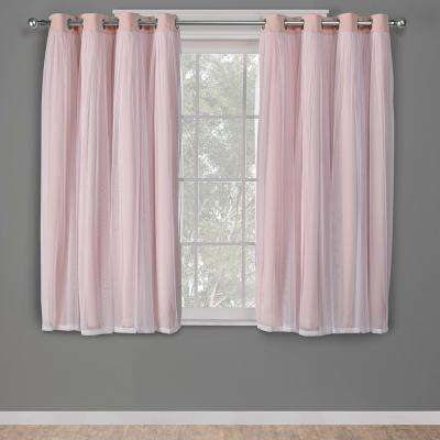 Catarina 52 in. W x 63 in. L Layered Sheer Blackout Grommet Top Curtain Panel in Rose Blush (2 Panels)
