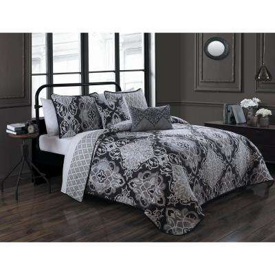 Portofino 5-Piece Chocolate Queen Quilt Set