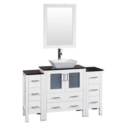 84 in. W Single Bath Vanity in White with Tempered Glass Vanity Top with White Basin and Mirror