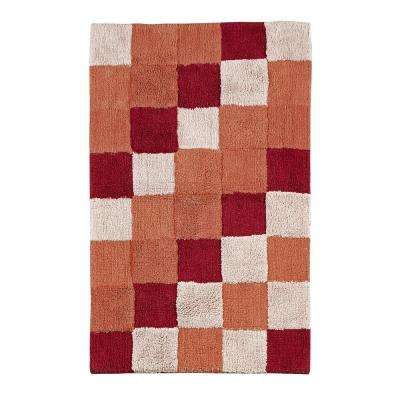 Tiles Burgundy 24 in. x 40 in. and 17 in. x 24 in. Bath Rug Set (2-Piece)