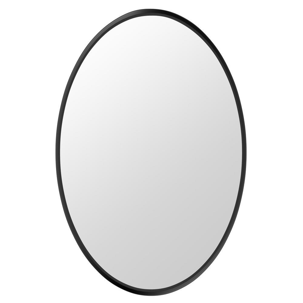 Katharine 30 in. W x 20 in. H Framed Oval Craft Bathroom Vanity Mirror in Black