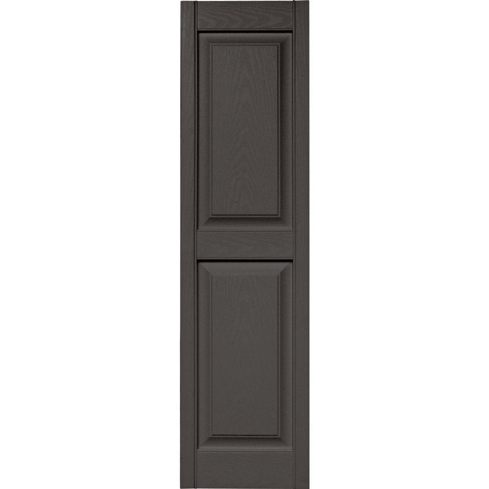 Builders Edge 15 in. x 55 in. Raised Panel Vinyl Exterior Shutters Pair in #018 Tuxedo Grey