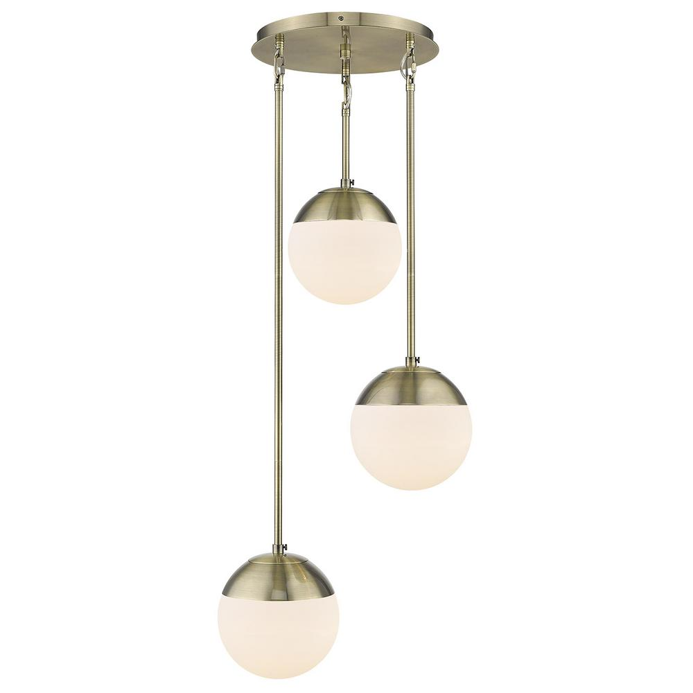 Golden Lighting Dixon 3-Light Pendant in Aged Brass with Opal Glass and Aged Brass Cap