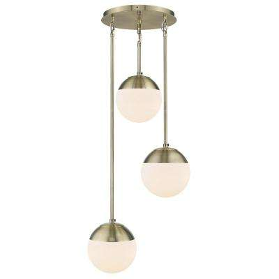 Dixon 3-Light Pendant in Aged Brass with Opal Glass and Aged Brass Cap