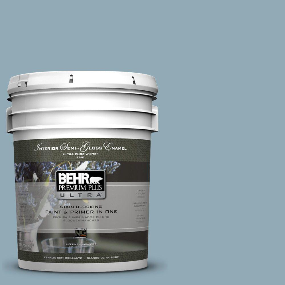 BEHR Premium Plus Ultra 5-gal. #530F-4 Newport Blue Semi-Gloss Enamel Interior Paint