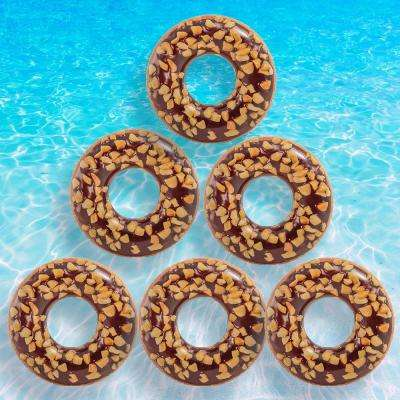 Nutty Chocolate Donut Tube Pool Float (6-Pack)