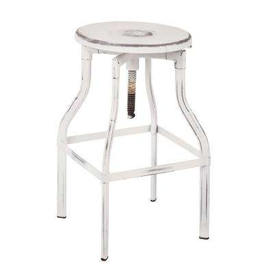 "Eastvale 30"" Metal Barstool In Antique White"
