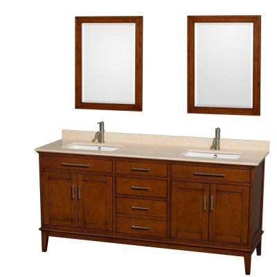 Hatton 72 in. Double Vanity in Light Chestnut with Marble Vanity Top in Ivory, Square Sink and 24 in. Mirrors