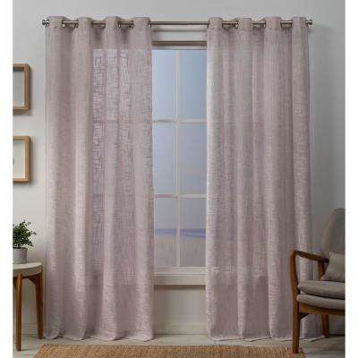 Sena 54 in. W x 96 in. L Sheer Grommet Top Curtain Panel in Blush (2 Panels)