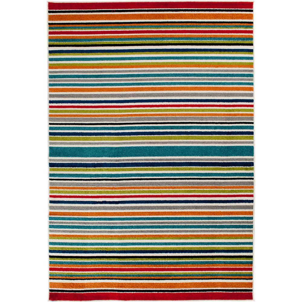 Patio Brights Multi 9 ft. 10 in. x 12 ft. 10 in. Stripe Indoor/Outdoor Area Rug
