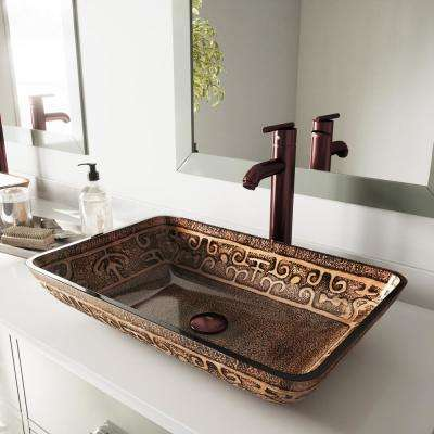 Rectangular Glass Vessel Bathroom Sink in Golden Greek with Faucet Set in Oil Rubbed Bronze