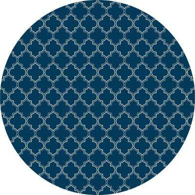 Quaterfoil Circle Design 5ft x 5ft blue & white Indoor/Outdoor vinyl rug.