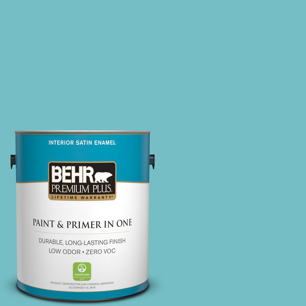 BEHR Premium Plus 1-gal. #M460-4 Pure Turquoise Satin Enamel Interior Paint