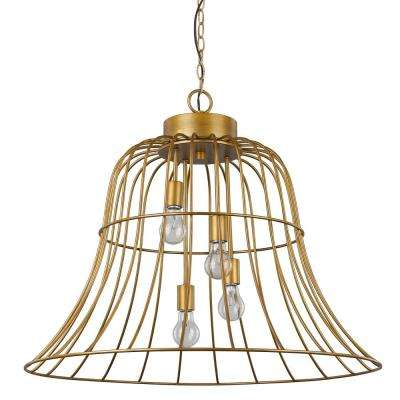 Caroline 4-Light Antique Gold Pendant with Bell-Shaped Frame