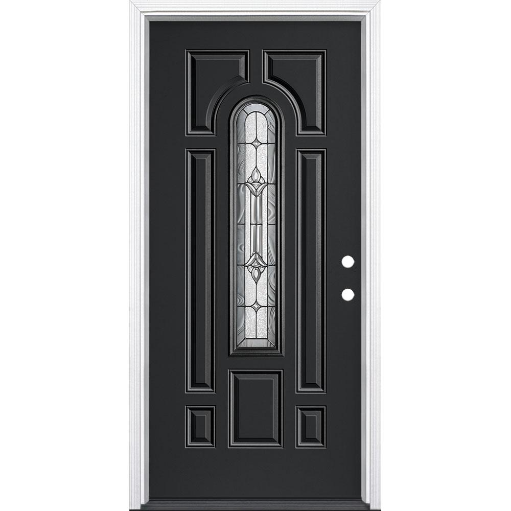 Masonite 36 in. x 80 in. Providence Center Arch Jet Black Left Hand Inswing Painted Fiberglass Prehung Front Door with Brickmold