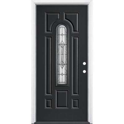 36 in. x 80 in. Providence Center Arch Jet Black Left Hand Inswing Painted Fiberglass Prehung Front Door with Brickmold
