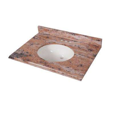 31 in. x 22 in. Stone Effects Vanity Top in Bordeaux with White Sink