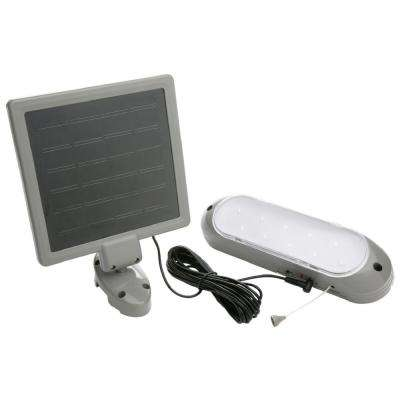 7-Watt Grey Integrated LED Rechargeable Solar-Panel Shed Light