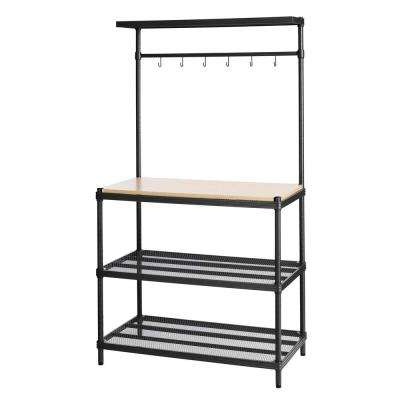 MeshWorks 4-Shelf Metal Black Freestanding Utility Unit