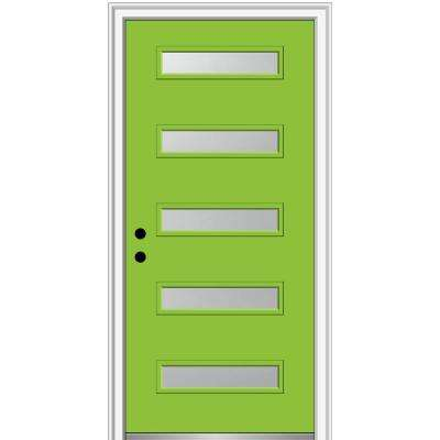 36 in. x 80 in. Davina Right-Hand Inswing 5-Lite Frosted Glass Painted Fiberglass Smooth Prehung Front Door