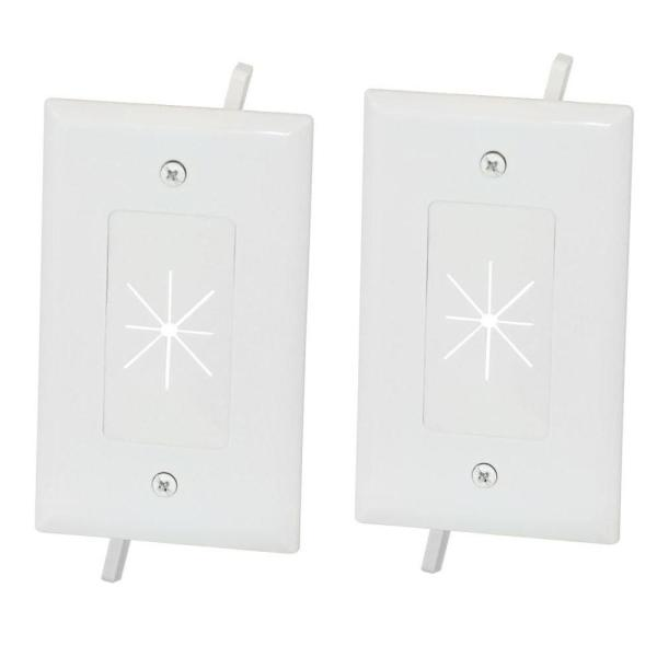 1-Gang Flexible Opening Cable Wall Plate - White (2-Pack)